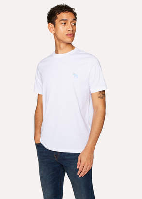 Paul Smith Men's White Embroidered Zebra Organic-Cotton T-Shirt