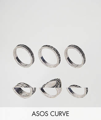 Asos Exclusive Pack of 6 Engraved Ring Pack