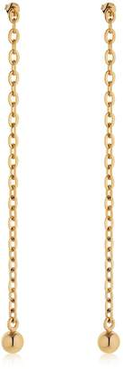Saskia Diez Barbelle Gold Plated Long Chain Earrings