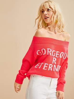 Shein Letter Off Shoulder Sweater