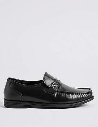 Marks and Spencer Big & Tall Extra Wide Leather Trim Loafers