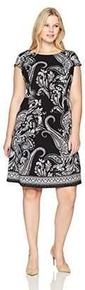 Sandra Darren Women's Plus Size 1 Pc Cap Sleeve Scuba Crepe Fit and Flare Dress