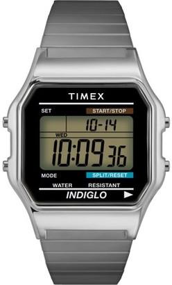 Timex Mens Classic Silver-Tone Case Bracelet New 80's Retro Digital Watch T78582