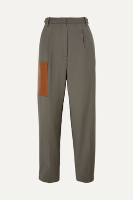 Tibi Tablier Faux Leather-trimmed Woven Pants - Dark gray