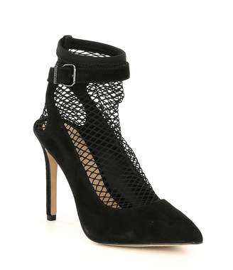 Gianni Bini Ambrozatwo Fishnet Suede Pointy Toe Pumps