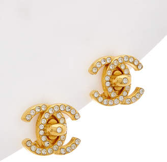 Chanel Gold-Tone & Crystal Cc Large Turnlock Clip-On Earrings