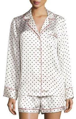Neiman Marcus Polka-Dot Shorty Pajama Set, Dot/Red Trim $170 thestylecure.com