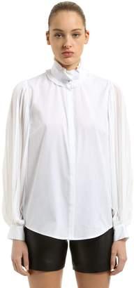 Karl Lagerfeld Pleated Crepe & Cotton Poplin Shirt