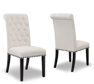 BEIGE Glamour Home Set of 2 Aleki Fabric Dining Chair Roll Back with Tufted Buttons and Nail Heads