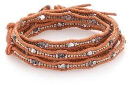 Chan LuuChan Luu Crystal & Leather Multi-Row Beaded Wrap Bracelet