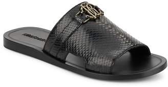 Roberto Cavalli Men's Snake-Embossed Leather Slide Sandals