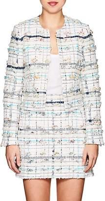 Thom Browne Women's Cotton-Blend Tweed Collarless Jacket - White