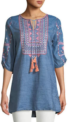 Tolani Megha Embroidered Denim Tunic, Plus Size