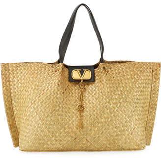 Valentino Go Logo Escape Large Tote Bag, Neutral