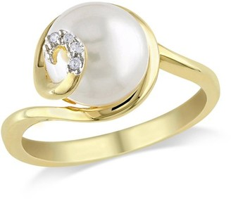 Miabella 9mm-9.5mm White Round Cultured Freshwater Pearl and Diamond-Accent Yellow Rhodium-Plated Sterling Silver Swirl Ring