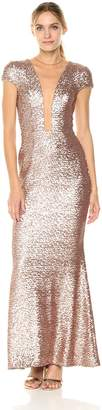 Dress the Population Women's Michelle Cap Sleeve Sequin Long Gown