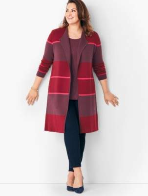 Talbots Stripe Merino Double-Face Duster