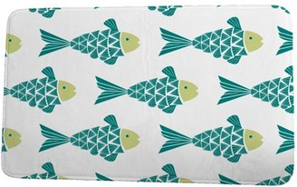 Simply Daisy 24 x 36 Inch Beach Vacation Fish Tales Teal Coastal Print Bath Mat