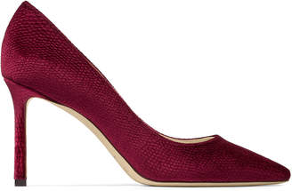 Jimmy Choo ROMY 85 Bordeaux Lizard Printed Velvet Pointed Toe Pumps