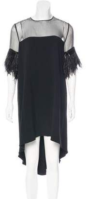Andrew Gn Ostrich Feather-Trimmed Dress