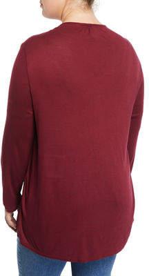 XCVI Kalvin Long-Sleeve Satin-Front V-Neck Blouse, Plus Size