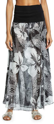 Marie France Van Damme Double-Layer Floral Silk Palazzo Skirt