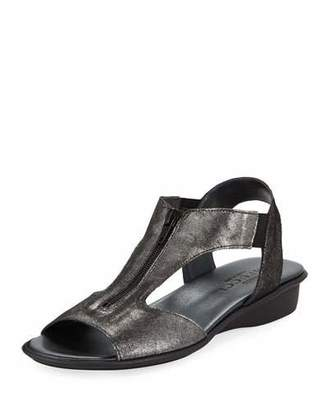 Sesto Meucci Eliso Zip Flat Comfort Sandal, Black Metallic