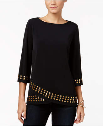 JM Collection Petite Embellished Crossover Top