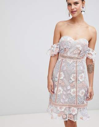 True Decadence Off Shoulder Embroidered Dress