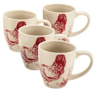 Bonjour Dinnerware Chanticleer Country 4-Piece Stoneware Mug Set, Burgundy Red