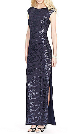 Lauren Ralph LaurenLauren Ralph Lauren Cap Sleeve Sequined Floral Gown