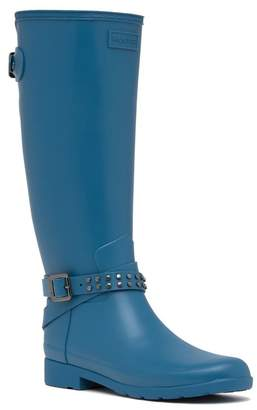 Hunter Refined Stud Tall Waterproof Biker Boot