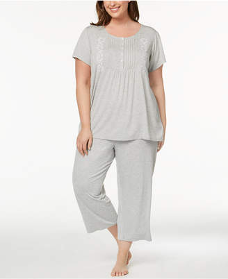 Charter Club Plus Size Pleated Knit Pajama Set, Created for Macy's