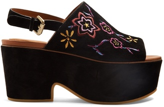 SEE BY CHLOÉ Floral-embroidered suede platform sandals $260 thestylecure.com