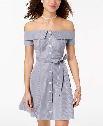 B. Darlin Juniors' Striped Off-The-Shoulder Button Dress