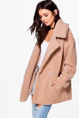 boohoo Petite Lara Faux Fur Teddy Coat $96 thestylecure.com
