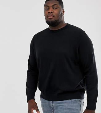 Burton Menswear Big & Tall crew neck jumper in black