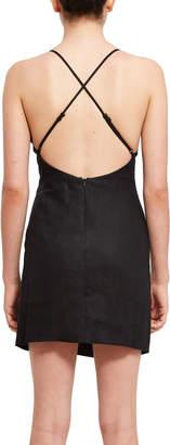 Callipygian Linen V-Neck Slit Dress