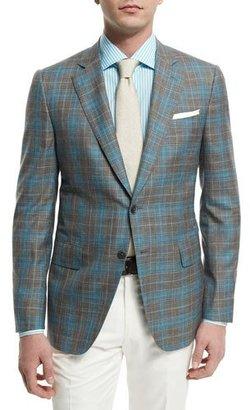 Isaia Plaid-Windowpane Two-Button Jacket, Gray/Aqua $3,895 thestylecure.com