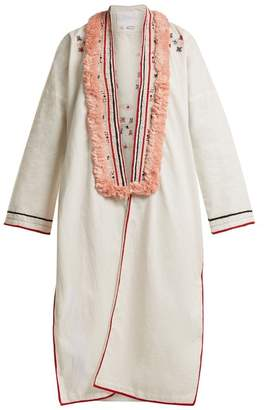 Love Binetti - Embroidered Cotton Cover Up - Womens - Red White