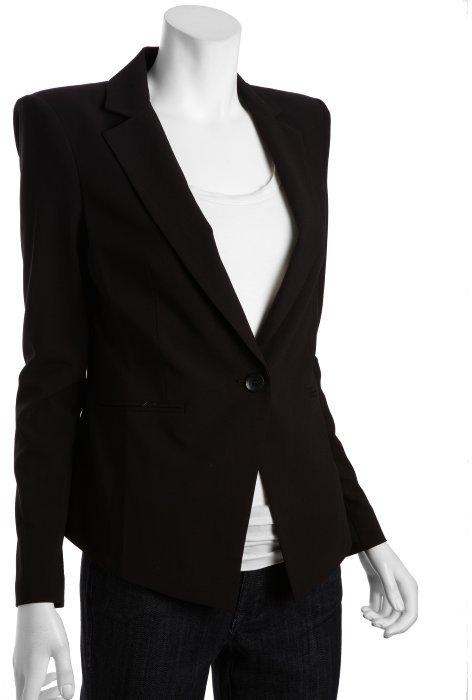 BCBGMAXAZRIA black woven 'Fay' one button blazer