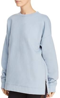 AVEC LES FILLES Side-Zip Fleece Sweatshirt