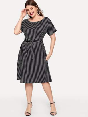 Shein Plus Striped Self Tie Waist Dress