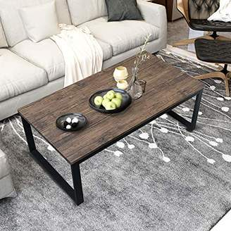 """Aingoo Rustic Coffee Table with Metal Frame for Living Room Garden 43"""""""