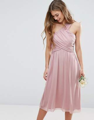 Asos DESIGN Bridesmaid ruched mesh one shoulder midi dress
