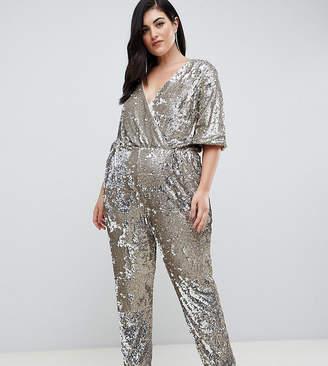 912511933eed7 TFNC Plus Plus sequin wrap front jumpsuit in multi silver