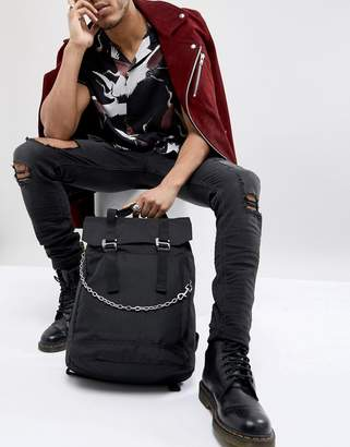 Asos backpack with chain detail and double strap and internal laptop pouch