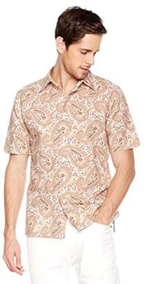 Isle Bay Linens Men's Standard Fit Short Sleeve Cotton Linen Paisley Casual Hawaiian Shirt L