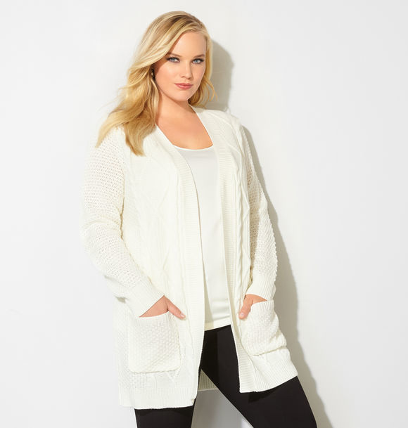 Cable Knit Pocket Duster Cardigan
