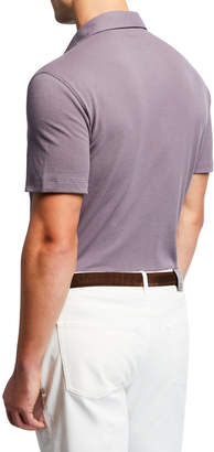 Brunello Cucinelli Men's Basic Spread-Collar Pique Polo Shirt